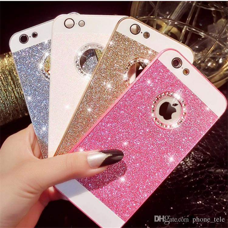 Luxury bling glitter powder shining case hard PC diamond back cover rhinestone crystal protector for iPhone 4 4s 5 5s se 6 6s 6 plus 6s plus
