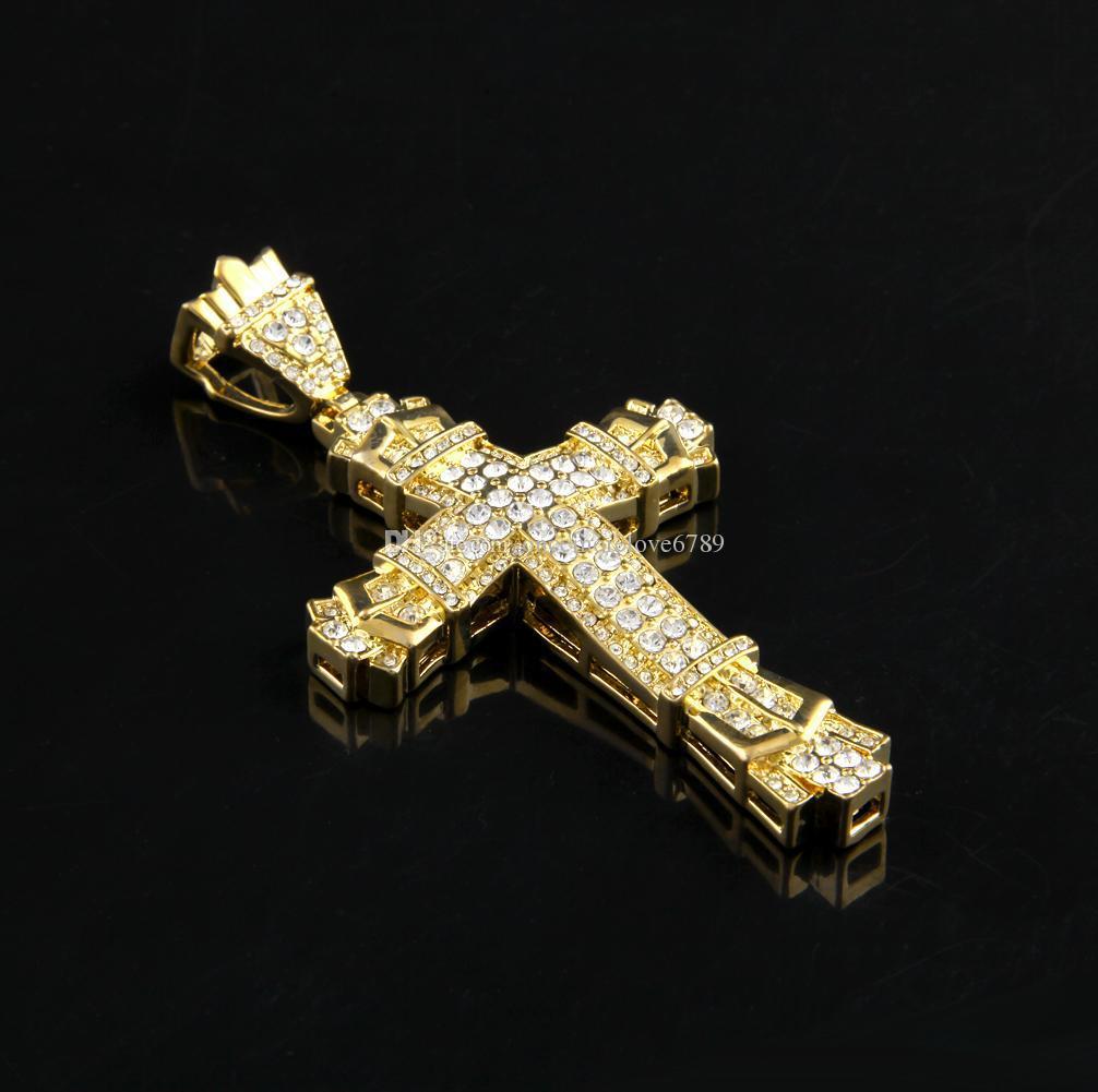 Colar De Prata hip hop Cross Pingente Full Ice Out diamantes simulados Colar Cristão Crucifixo católico com longa cadeia Cubana