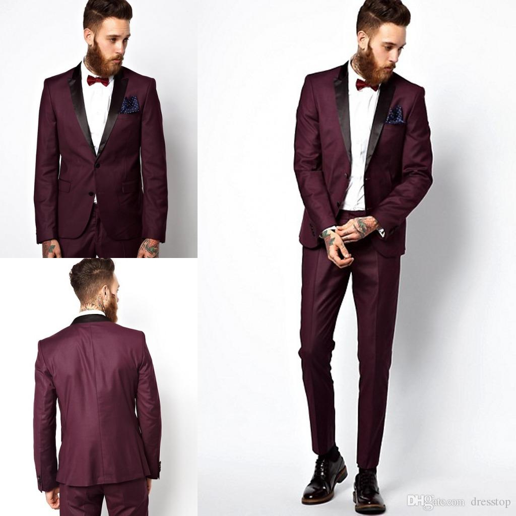 Burgundy Wedding Mens Suits Slim Fit Bridegroom Tuxedos For Men ...