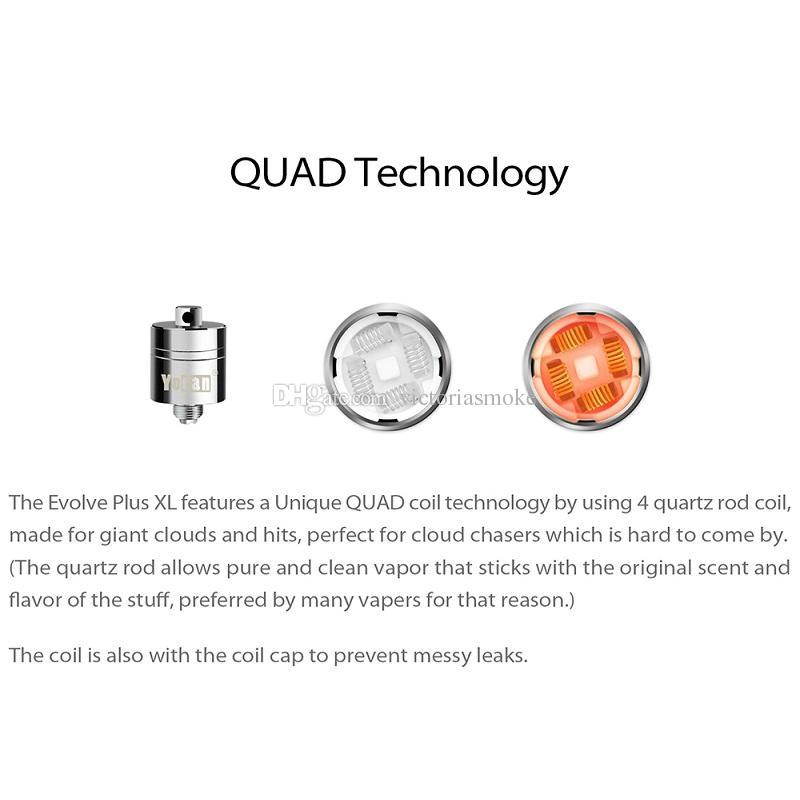 Original Yocan Evolve Plus XL Wax QUAD Coil Quatz Rod Replacemen Coils Head With Coil Cap For Evolve Plus XL Dab Pen Kit 100% Authentic