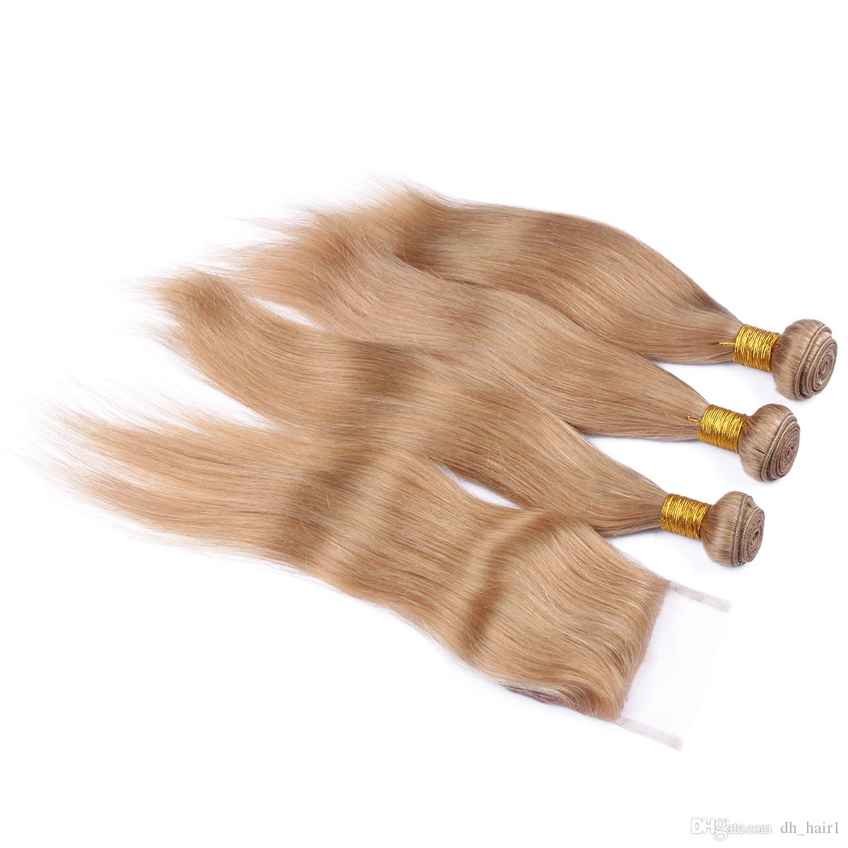 8A Brazilian #27 Blonde Straight Hair 3Bundles With Lace Closure Honey Blonde Human Hair Weaves With 4*4 Top Closure