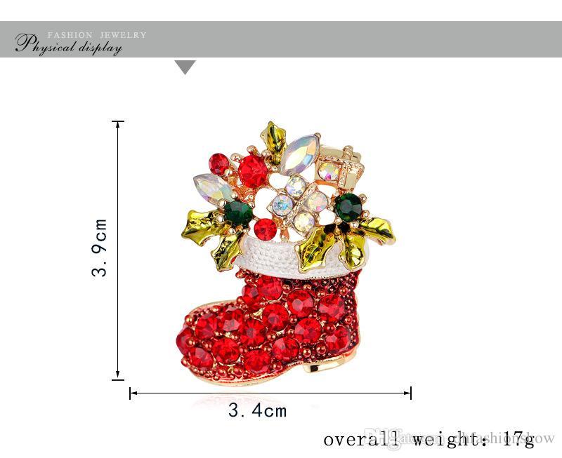 Moda Natal Ano Novo Botas Broches Papai Noel sapatos de cristal broche de jóias Mulheres caçoa o presente Vintage