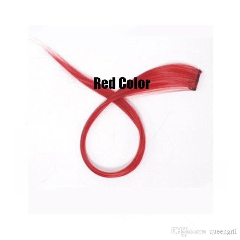 / cheveux synthétiques Clip droit en extension rose rouge jaune rose bule sur cosplay ombre cheveux synthétiques
