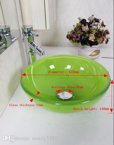 Wash basin Glassware Bathroom Clean sink Art home decoration Yellow, orange, red, green, blue, white, black and other ten pure colors