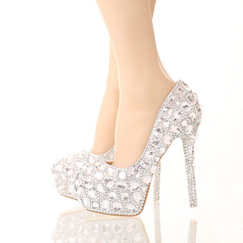 Bride Crystal Shoes Rhinestone Wedding Shoes Silver High Heel Platform  Event Shoes Women Handmade Fashion Party Dress Shoes Silver Rhinestone  Wedding Shoes ...