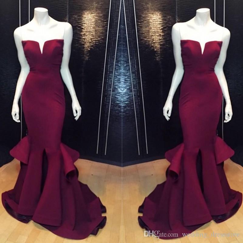 Vestidos Largos De elegante vestido de noche palabra de longitud con cuello en V sin tirantes sin mangas de la sirena vestido de fiesta Vestido De Festa