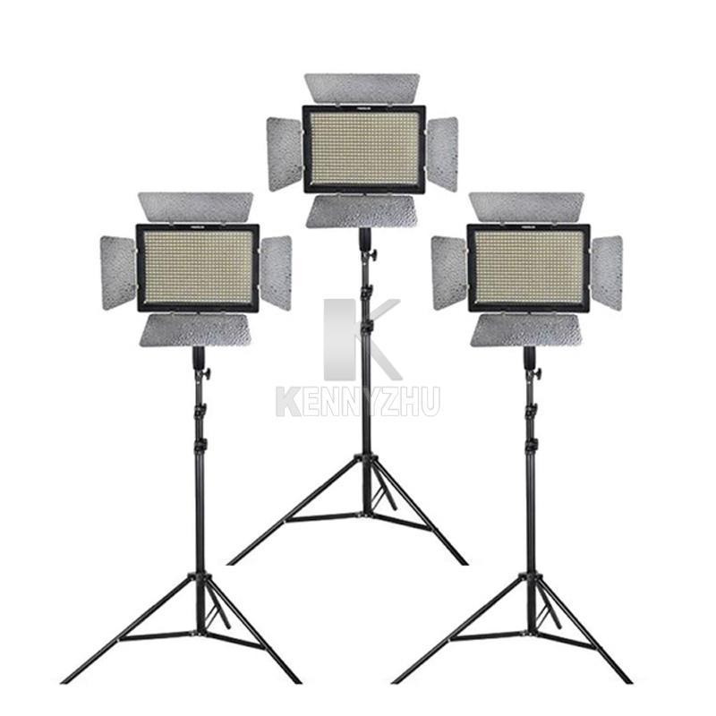 طقم إضاءة الاستوديو Yongnuo YN600L II 3200-5500K ثنائي اللون 600 LED ضوء الفيديو لوحة + محول الطاقة + 2M حامل + ذراع الرافعة + حقيبة حمل
