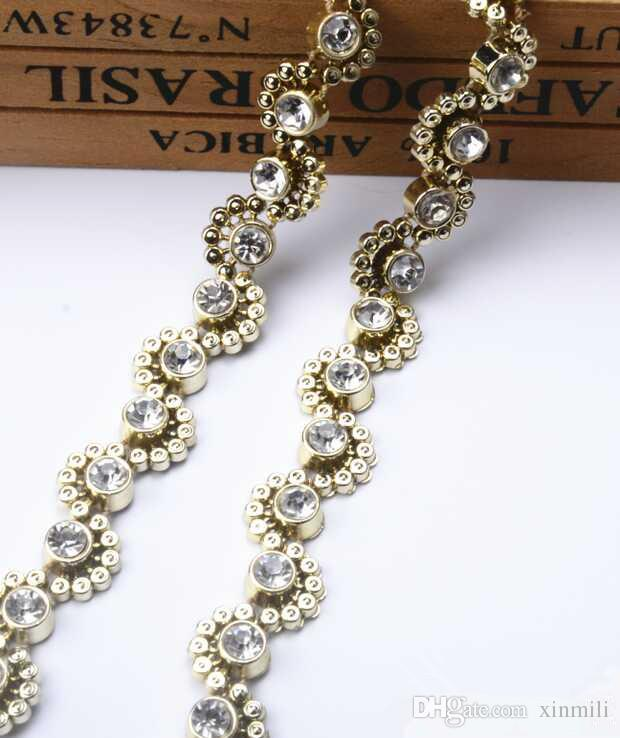 free shippment rhinestone crystal sewing lace beaded,plastic base rhinestone trimming