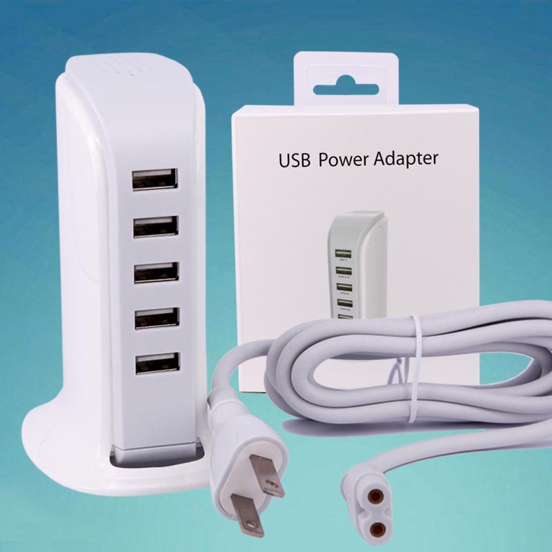 BOAT Real 4.0A 5 Ports USB Vertical Desktop wall Charger with 1m Cable In Retail package FOR smart phone Tablet pc