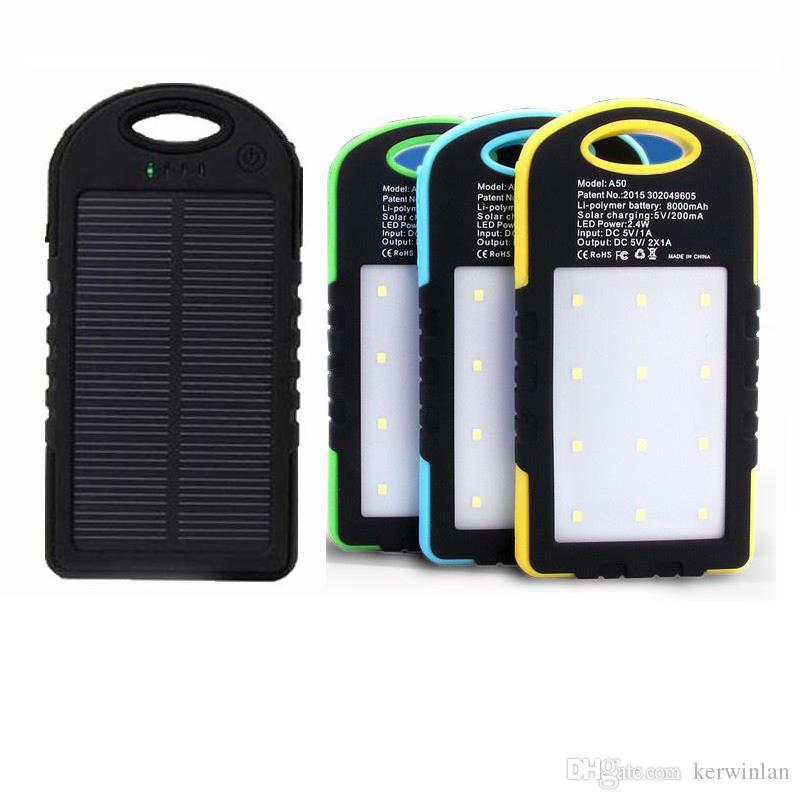 Caricabatterie solare universale 8000mAh Caricabatterie solare Caricabatterie solare solare Caricabatterie solare la lampada da campeggio con doppio LED USB