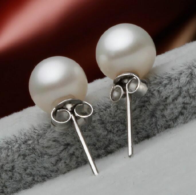 Boucles d'oreilles en argent sterling 925 avec perle en argent sterling bijoux charme simple 6/8/10 mm Boucles d'oreilles en perles luxueuses pour femme
