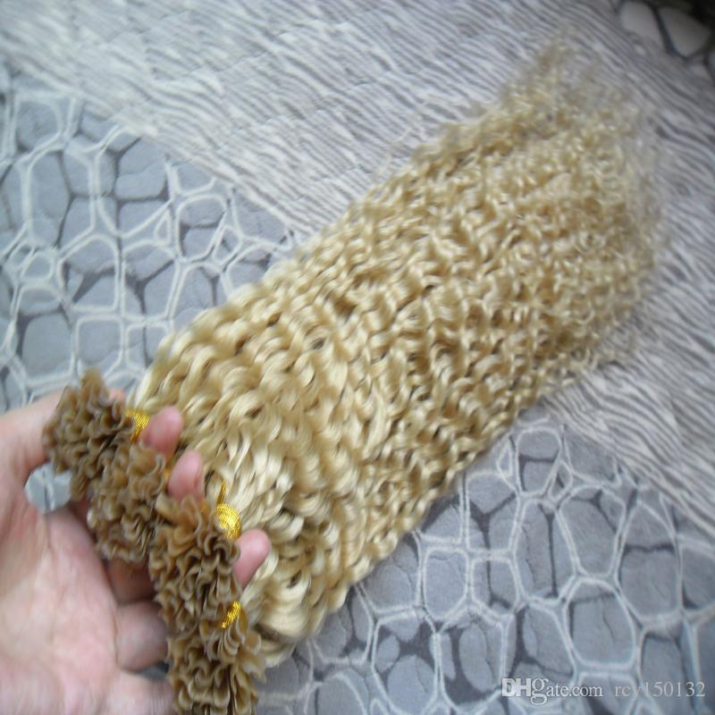 Prego loiro U Ponta Extensões de Cabelo 1g / s 200g Não-Remy Brasileiro Do Cabelo Humano 613 kinky curly pre bonded extensões de cabelo encaracolado 200g