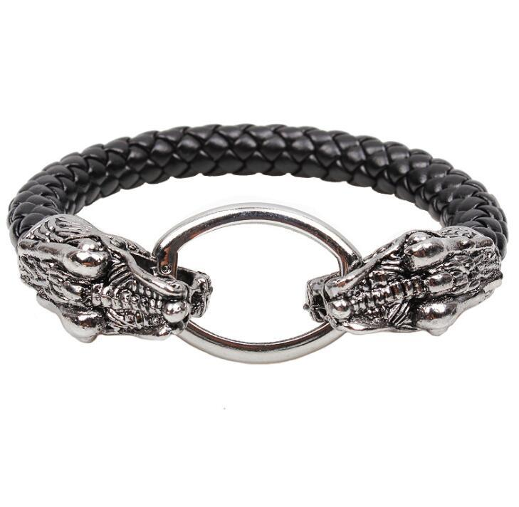Holloween Punk Jewelry Crystal Red Eye Alloy Skull Head Charm Bracelets Personality Woven Leather Bangle Bracelet for Men Gift