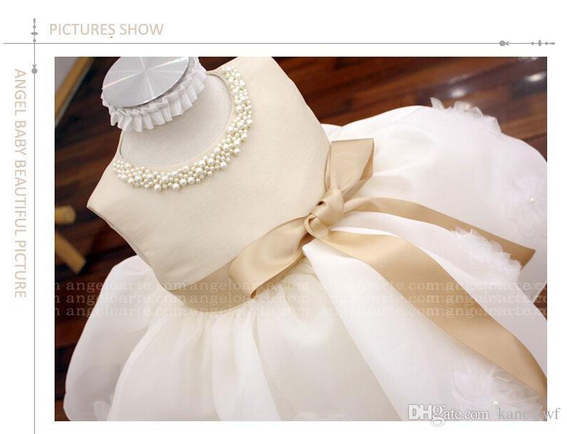 Abiti tutu senza maniche estate champagne matrimonio, ragazza battesimo abito, abbigliamento il compleanno infantile principessa