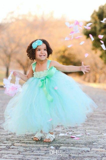 Cute Green Ball Gown Tulle Flower Girl Dresses Spaghetti Handmade Flower Kids Toddler Pageant Dresses Ankle Length First Communion Dresses