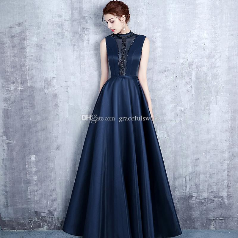 d778e0aa69 Illusion O-Neck A-Line Satin Formal Evening Dresses Tank Navy Blue Evening  Gowns Dazzling Beaded Open Back Party Dress Gowns