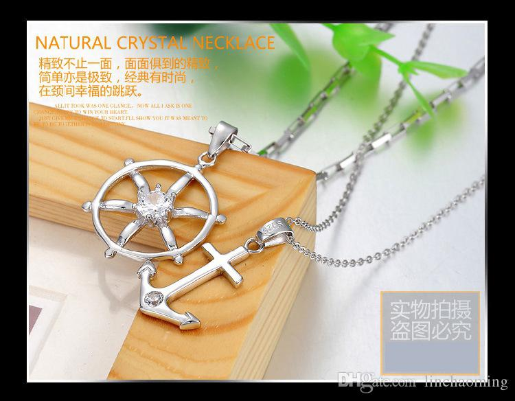 HYWo sin cadena 925 Sterling Silver CZ Crystal Love timón de anclaje Colgantes para mujer Gift of Love Jewelry Prevenir la alergia
