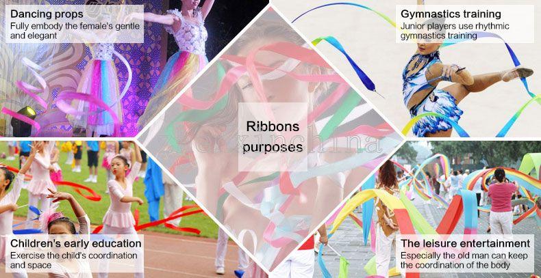 Rhythmic Gymnastics Gimnasia Ritmica RG Ribbon 4 Meters Child adult Props Dance Stick 5cm Width sports equipmemnt colors