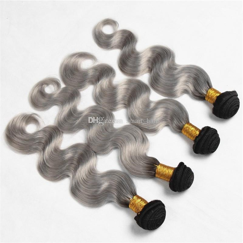 1B Grey Dark Root Ombre Color Body Wave Hair Weft 4 Bundles Two Tone 9A Brazilian Ombre Grey Human Hair Extensions