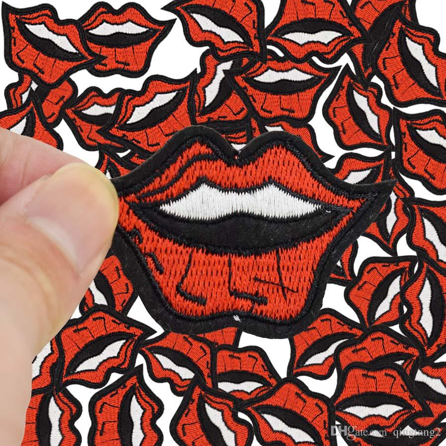 smile lips embroidery patches for clothing iron-on patch applique iron on fashion patch sewing accessories badge stickers on clothes