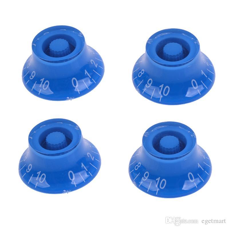 4 pcs azul top hat controle de velocidade material platic botões da guitarra mão transparente para guitarra elétrica mu0744-4