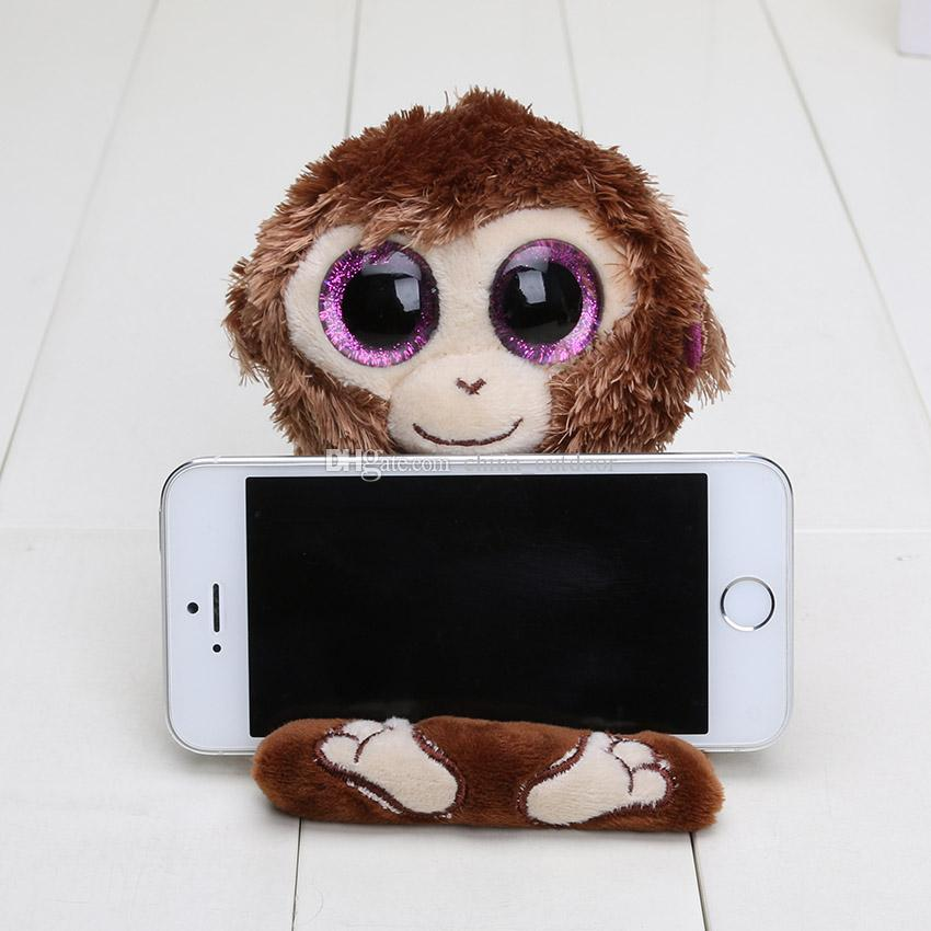 Ty Peek-A-Boo Phone Holder with Screen Cleaner Bottom Penguin penni Monkey chimps Dog pups TY Big Eyes toys