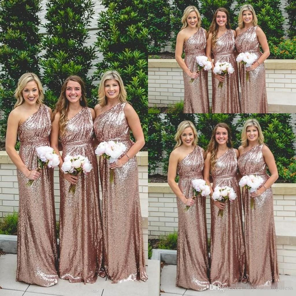 Sparkly rose gold sequined one shoulder bridesmaid dresses 2016 sparkly rose gold sequined one shoulder bridesmaid dresses 2016 plus size pleats long garden country wedding guest party evening gowns cheap two piece ombrellifo Gallery
