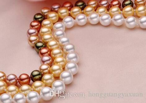 8 mm Farbe reinweiß Natürliche Perlen, Nanyang Muschel Perle hat Ist Runde natürliche Muschel Perle hat lange Frauen Pullover Kette Halskette 120mm
