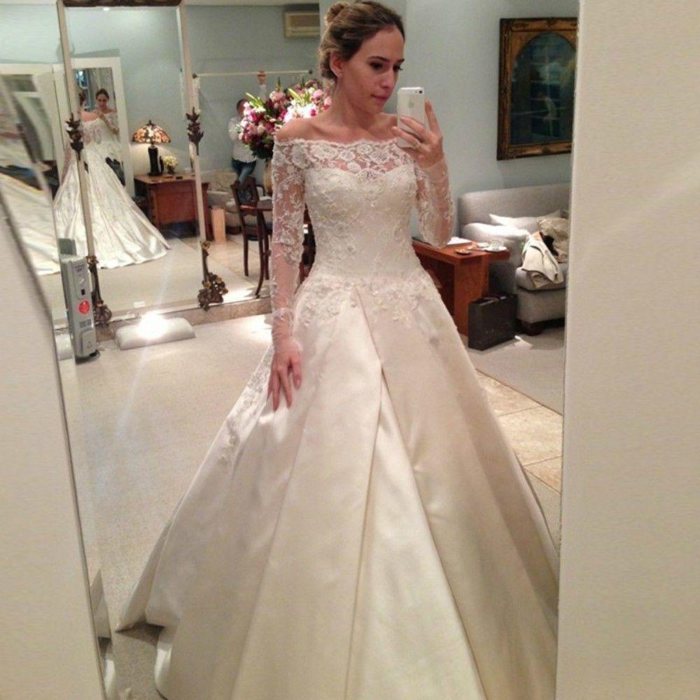 Discount Elegant Long Sleeve Lace Wedding Dress Off The Shoulder A ...