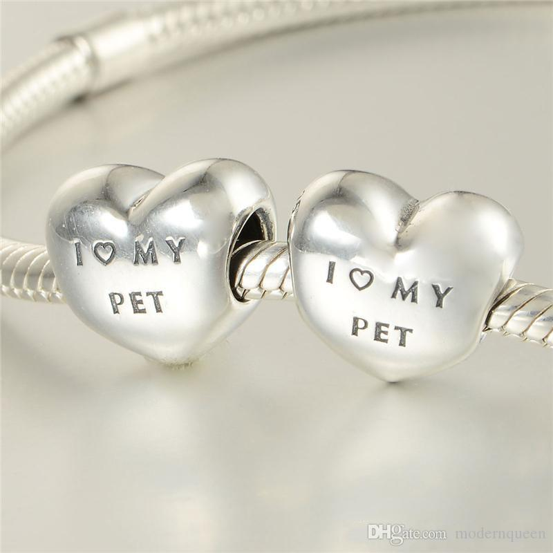 Pet Jewelry charms dog heart S925 sterling silver fits for original brand style bracelets 791713CZ