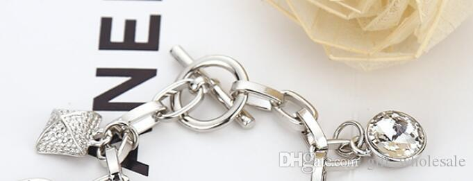 High Quality 7 pendants charm bracelets padlock Key love crystal charms bracelet jewelry silver gold color brand jewellery for men women