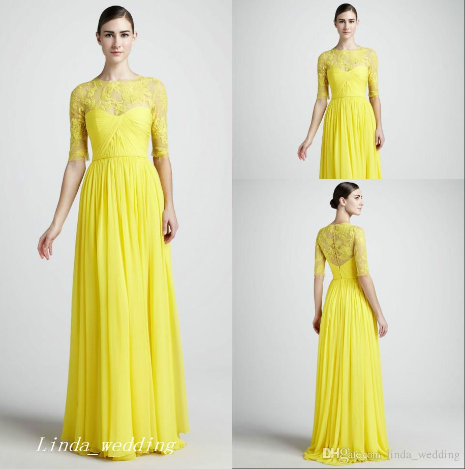 Long Yellow Bridesmaid Dresses with Lace