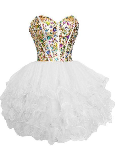 구슬로 장식 된 크리스탈 Organza 귀가 복장 2020 여보 공 가운 파티 드레스 무릎 길이 프롬 가운