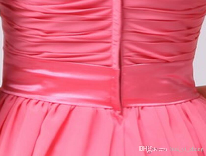 2016 Short Bridesmaid Dresses One Shoulder Handmade Flowers Pleats Ruffle Chiffon with Belt Mini Length Real Pictures Prom Gowns