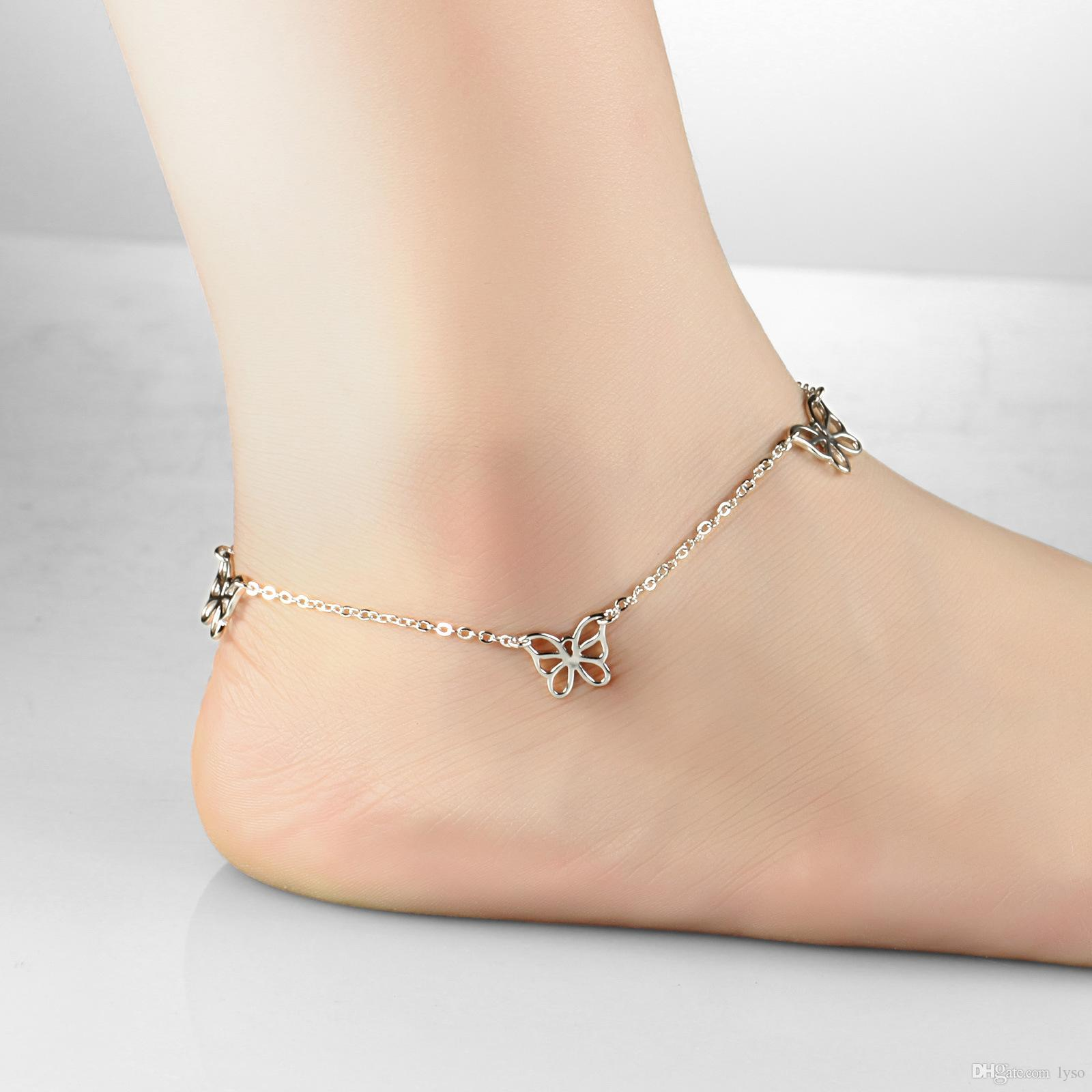 platinum anklets chain cube ankle gift beads jewelry vintage leg wihte bracelet anklet foot product bridal pendant expandable plated womens gold wedding store