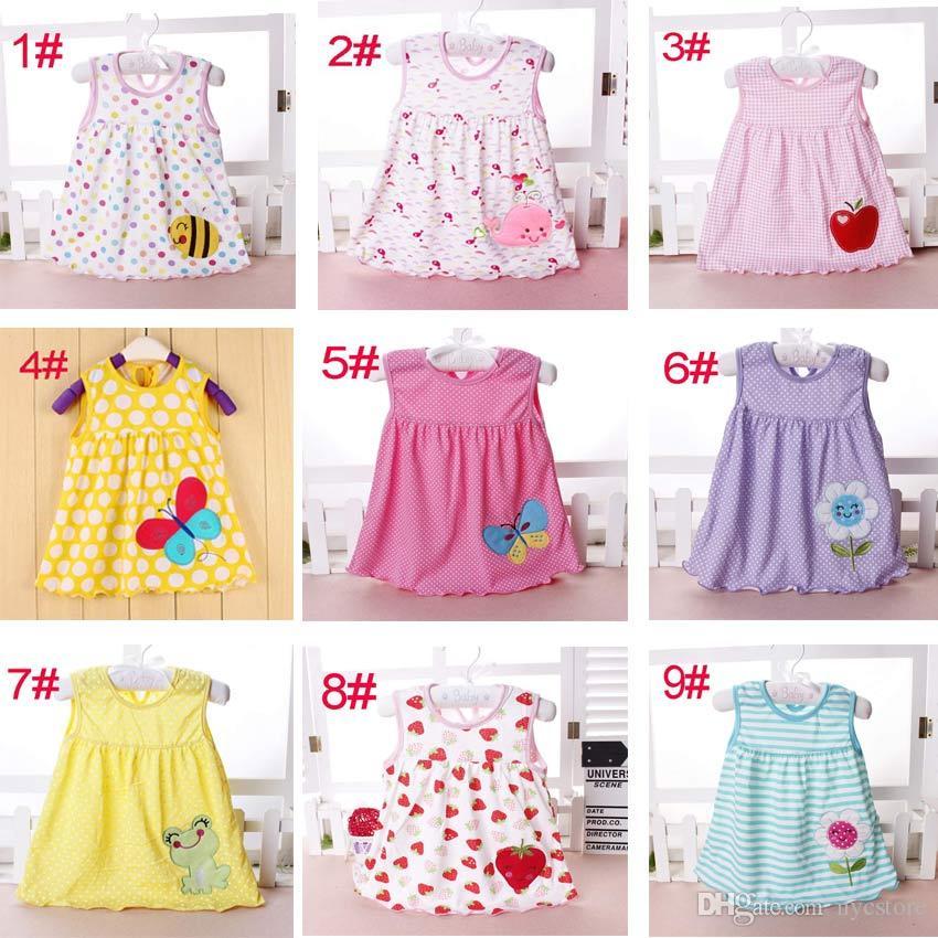 68a6b1c5a02f Baby Girl Cotton Dresses Summer Cartoon Skirt Embroidered Kids ...