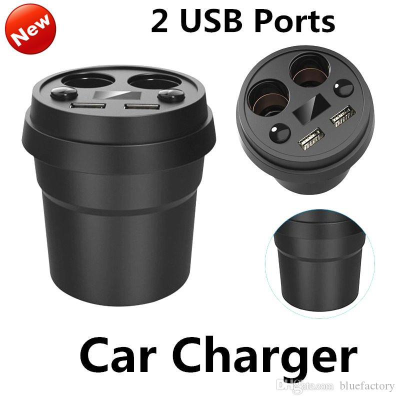 Cup Holder 2 Ports USB Car Charger 5V 3.1A Cigarette Lighter Socket Adapter Charger for iphone 6s Samsung S7edge ipad cell phone