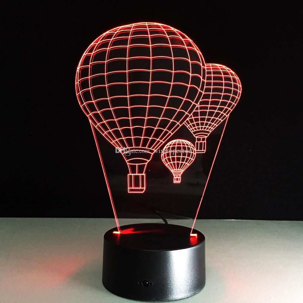 3D Ballons Оптическая Иллюзия Лампа 7 RGB Огни DC 5 В USB Питание от 5-й Батареи Оптовая Перевозка Груза Падения Розничная Коробка