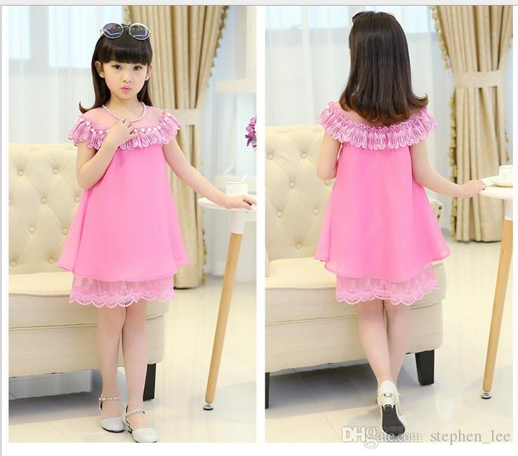 2018 grandes meninas verão lace princess dress crianças chiffon vestidos de festa kids clothing moda menina lace dress 3 cores 110-160 cm 6 pçs / lote