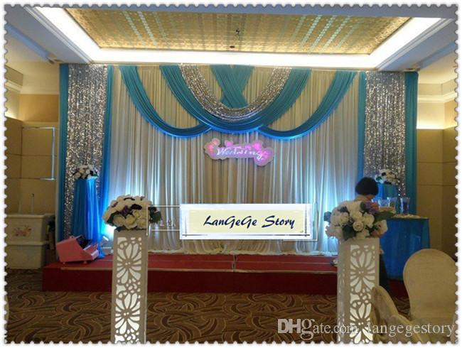 Schöne weiße Hochzeitshintergründe mit Lavendel drapiert silberne Paillettengewebeschiere / silk Hochzeitsvorhänge des Eises / 10ft * 20ft / können besonders angefertigt