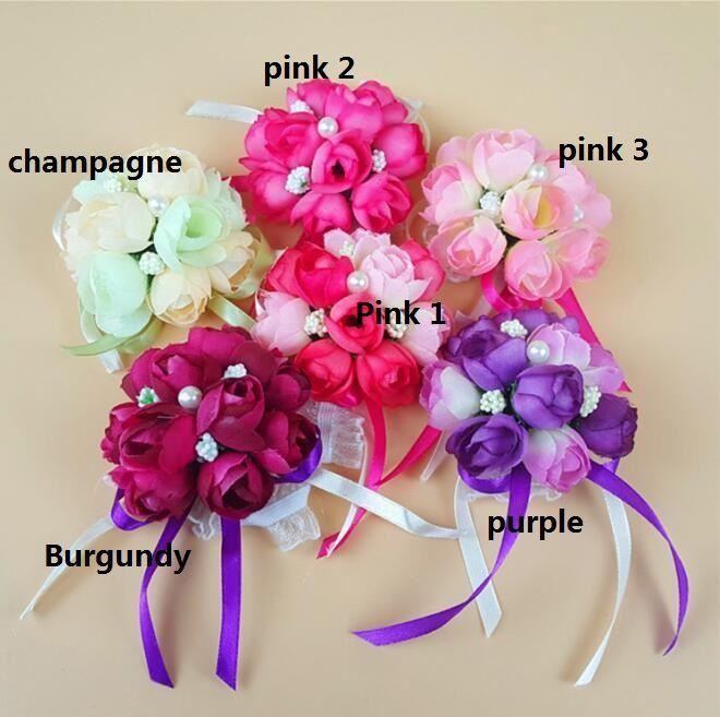 2017 Gerçek 8 cm Boutonnieres Düğün Balo Bilek Corsage Ile Bilezik Gelin Çiçekler Dekoratif Çiçekler çelenkler Ücretsiz Kargo HJIA198