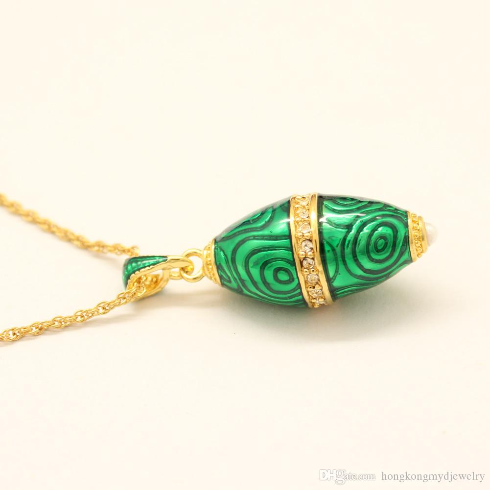 Hand crafted Enamel crystal paved bullet shape pendant Faberge Egg Russian Egg charm Necklace for Easter day