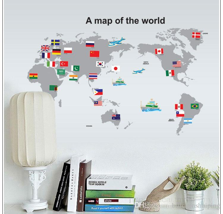 World map world trip wall stickers home decor removable 3d world map world trip wall stickers home decor removable 3d wallpaper rolls wall decals art party decoration for kids bedroom room decor sticker room decor gumiabroncs Choice Image