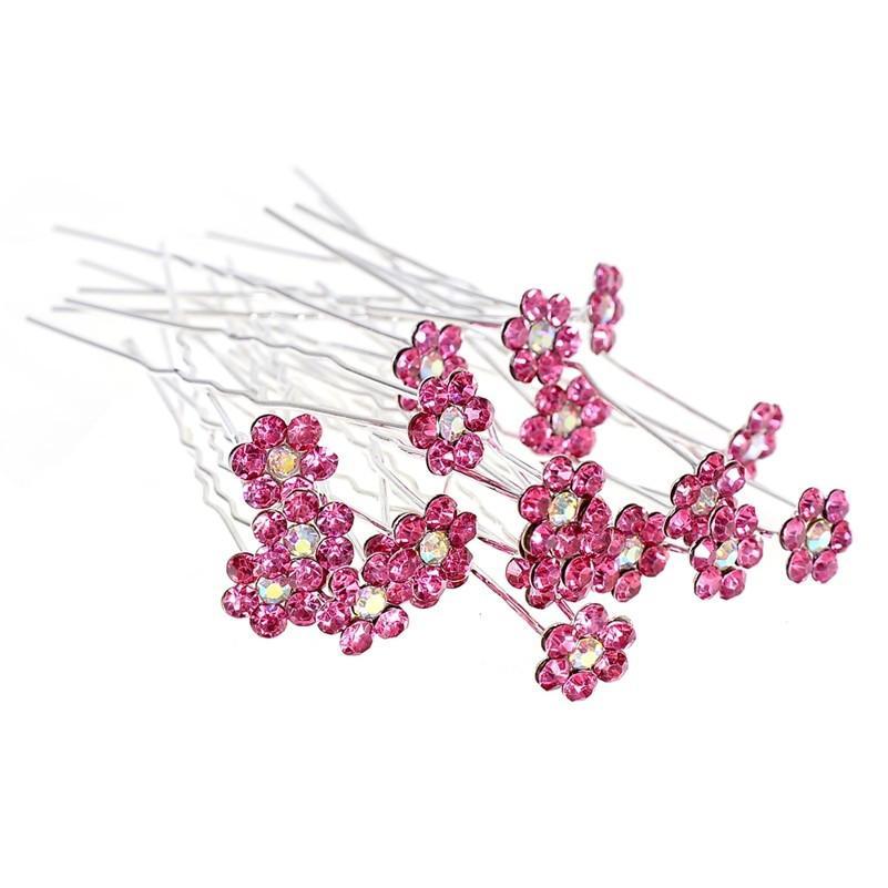 Women Rhinestone U Shape Hairpins For Bridal Wedding Accessories Flower Crystal Hair Pins Clip Bridesmaid Jewelry