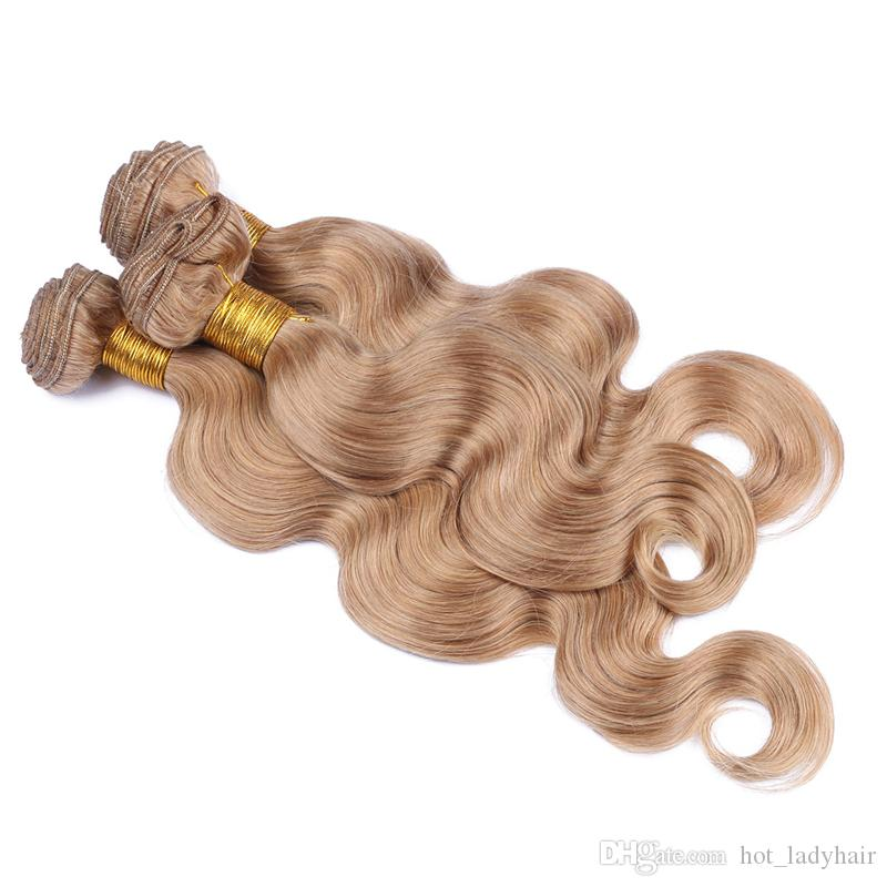 8A Honey Blonde Body Wave Hair Weaves With Lace Closure Peruvian 27 Blonde Human Hair Bundles With Free Part Top Closure
