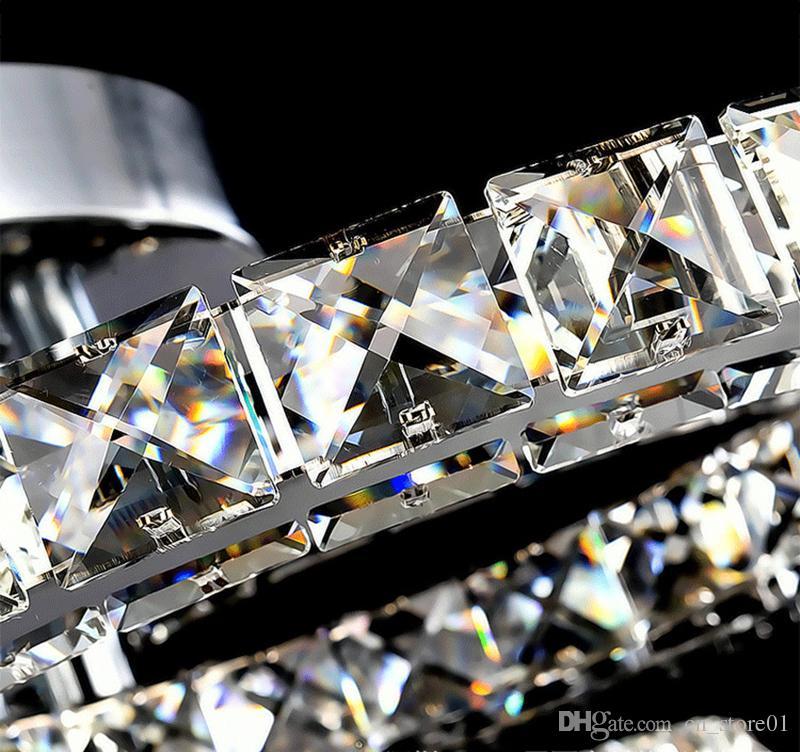 Modern led kristal avize işık Yuvarlak Daire Gömme Montajlı Avizeler lamba oturma odası Yatak Odası Yemek odası için Cilalar