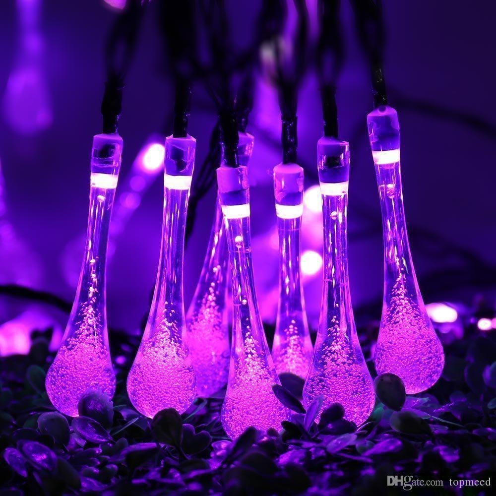 21ft 30 LED bande solaire goutte d'eau de fée extérieure Lumières de fées de jardin Lampe de jardin d'éclairage Halloween Décoration de Noël LED