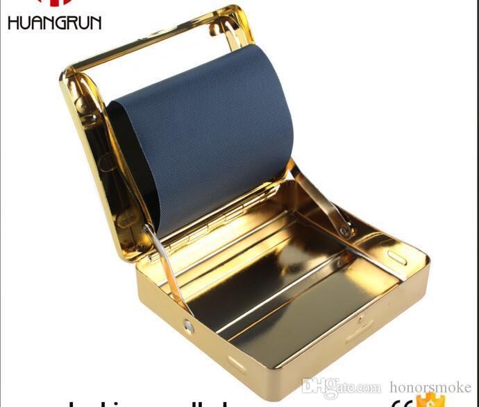 Yeni gelmesi altın Otomatik Metal Sigara Rulo Tütün Rolling Makinesi Sigara Sigara Silindir Kutusu Kasa 70mm Altın Araçları Aksesuarları