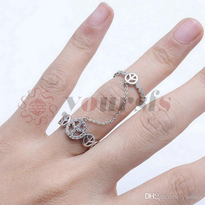 Yoursf Doppelring Mit Kette Einstellbare Breite Kristall Zirkon Rose Gold Farbe Open Knuckle Fingerring Anel Duplo Com Corrente