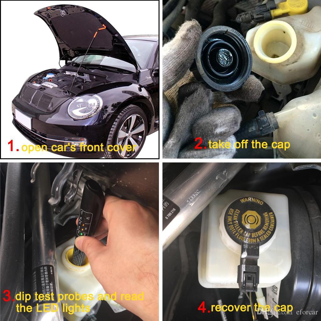 5 LED Brake Fluid Tester Diagnostic Testing Tool Auto Brakes Calibrated For DOT3 DOT4 DOT5 Automotive Shop Tools